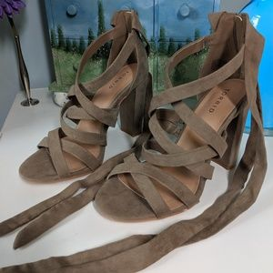 Torrid Strappy Lace Up Taupe Heels - Size 8.5 Wide